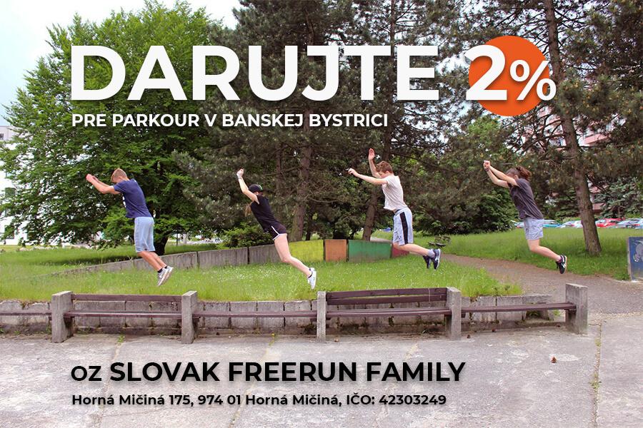 DARUJTE 2% PRE PARKOUR VBANSKEJ BYSTRICI, SLOVAK FREERUN FAMILY